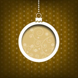 Christmas ball. Swirls decoration. Vintage style. Yellow background Stock Photos