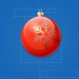 Christmas ball symbol like blueprint drawing. Royalty Free Stock Images