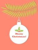 Christmas ball tag. On fir branch. Vector illustration Stock Photo