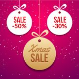 Christmas ball tag special price offer vector circle card. New year banner for christmas sale.  Royalty Free Stock Photography