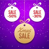 Christmas ball tag special price offer vector circle card. New year banner for christmas sale.  Stock Images