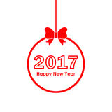 Christmas ball with text Happy New Year 2017. Vector illustration Royalty Free Stock Photos