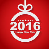 Christmas ball with text inside. Happy New Year 2016 and the long shadow on red background. Vector illustration Stock Images