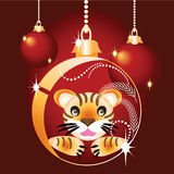 Christmas ball with a tiger royalty free stock photo