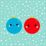 Christmas ball toy icon set. Funny smiling face head. Cute cartoon character. Red and blue. Winter snow background. Flat design st. Yle. Vector illustration Royalty Free Stock Photography