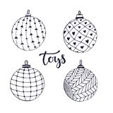 Christmas ball toys. Doodle isolated set for coloring page. Vector illustration . Royalty Free Stock Photo