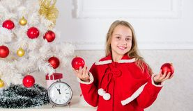 Christmas ball traditional decor. Top christmas decorating ideas for kids room. Kids can brighten up christmas tree by royalty free stock photos