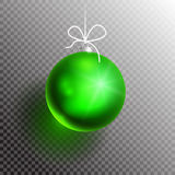 Christmas ball transparent blik2-01. Green Christmas Ball on transparent background with shadow and glow. Ready for your design. Vector Illustration Stock Images