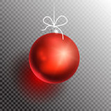 Christmas ball transparent blik-01. Red Christmas Ball on transparent background with shadow and glow. Ready for your design. Vector Illustration Royalty Free Stock Images