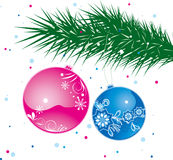 Christmas ball on tree. Blue and red christmas balls hanging on a tree Royalty Free Stock Photos