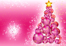 Christmas ball tree card. Luxury Card Christmas and New Year 2015. Christmas tree made of pink balls on a pink sparkling background Stock Photo