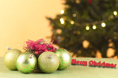 Christmas ball and tree with decorations Stock Image