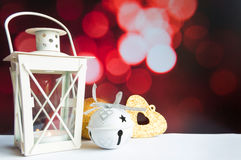 Christmas ball tree and lantern on red bokeh blur light Royalty Free Stock Images
