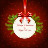 Christmas ball and tree of on red background Royalty Free Stock Photos
