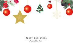 Christmas ball and tree and snowflake. New year greeting card stock illustration