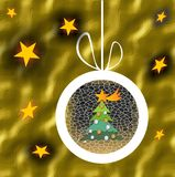 Christmas ball with tree and stars on gold texture background Stock Photos