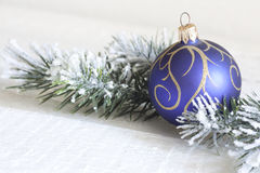 Christmas ball with tree on white boards Royalty Free Stock Photography