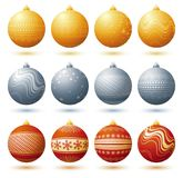 Christmas ball, vector illustr. Twelve  christmas ball over white background, vector Stock Photo