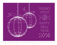 Christmas ball vector illustration and font Stock Images