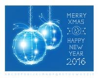 Christmas ball vector illustration and font Royalty Free Stock Photos