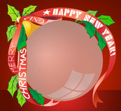 Christmas ball. Vector illustration of christmas ball with poinsettia and red ribbon in EPS10 format Stock Image
