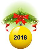 Christmas ball 2018. Vector Yellow Christmas ball 2018. eps 10 Stock Photos