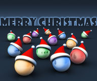 Christmas ball wearing santa hat greeting concept Stock Image