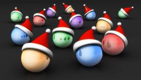 Christmas ball wearing santa hat greeting concept Stock Photos