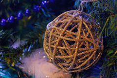 Christmas ball. White decorations on tree christmas Royalty Free Stock Image