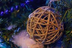 Christmas ball. White decorations on tree christmas royalty free stock image