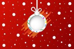 Christmas ball white Design on red background Vector illustration.  Royalty Free Stock Photos