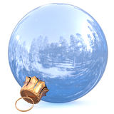 Christmas ball white New Year`s Eve bauble chrome decoration Royalty Free Stock Photography
