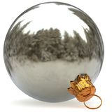 Christmas ball white silver decoration bauble closeup metallic Royalty Free Stock Images