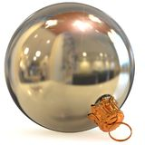 Christmas ball white silver metallic decoration closeup. New Year`s Eve bauble hanging adornment traditional Happy Merry Xmas wintertime ornament chrome. 3d Stock Photos