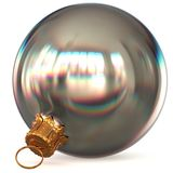Christmas ball white silver metallic decoration closeup. New Year`s Eve bauble hanging adornment traditional Merry Xmas wintertime ornament excellent. 3d Royalty Free Stock Photography