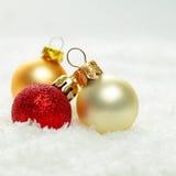 Christmas ball on white snow background Royalty Free Stock Photos