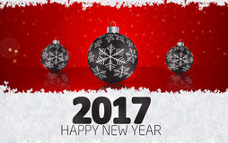 Christmas ball  on winter background with snow and snowflakes. H. Appy New Year 2017 Vector illustration Stock Image