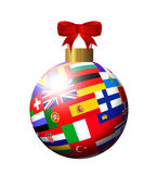 Christmas ball witheuropean flags over white Stock Photo