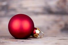 Christmas Ball on Wood Stock Photo