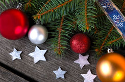 Christmas Ball on Wood Royalty Free Stock Photography