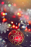 Christmas ball. On the wooden background Stock Images