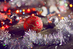 Christmas ball. On the wooden background Royalty Free Stock Photography