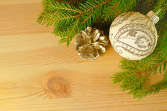 Christmas ball on the wooden background Royalty Free Stock Photography