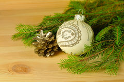 Christmas ball on the wooden background Stock Image