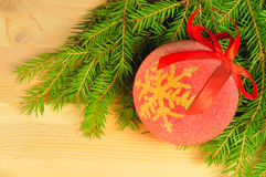 Christmas ball on the wooden background Royalty Free Stock Images