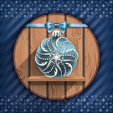 Christmas ball on the wooden board Royalty Free Stock Image
