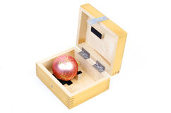 Christmas ball in wooden box Royalty Free Stock Images