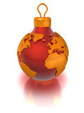 Christmas ball with world map, isolated Stock Photography