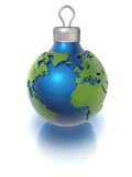 Christmas ball with world map, isolated Royalty Free Stock Photos