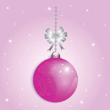 Christmas Ball xmas and happy new year. Pink background for decoration design holiday royalty free illustration